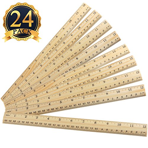 16 Packs Wood Ruler 12 Inch 30 CM Student Rulers Wooden School Rulers Office CL