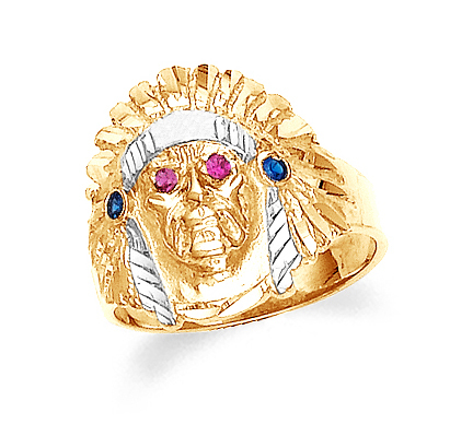 Gold Indian Head Mens Cubic Zirconia Ring 10K Walmart
