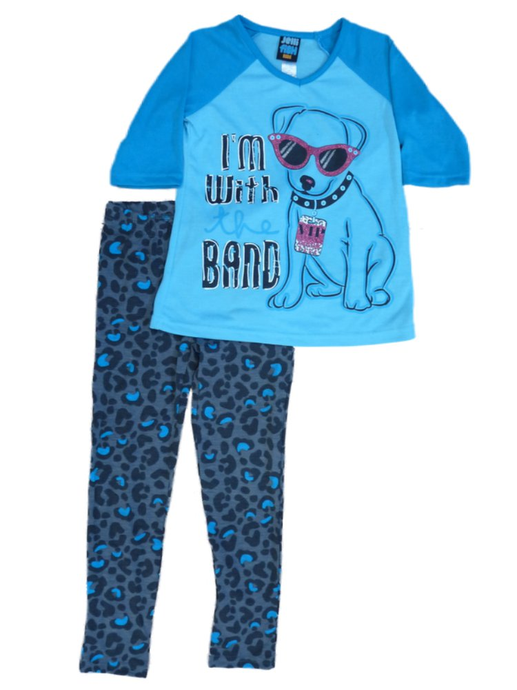 Jelli Fish Kids Girl Aqua Blue Pajamas PJs VIP Puppy Pajama 2 Piece Sleep 4-5