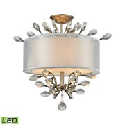 Asbury 3-Light Semi Flush in Aged Silver with Organza and Fabric Shade