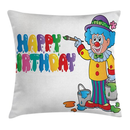 Birthday Decorations for Kids Throw Pillow Cushion Cover, Happy Clown for Party with Colorful Paint Drawing Buckets, Decorative Square Accent Pillow Case, 18 X 18 Inches, Multicolor, by Ambesonne