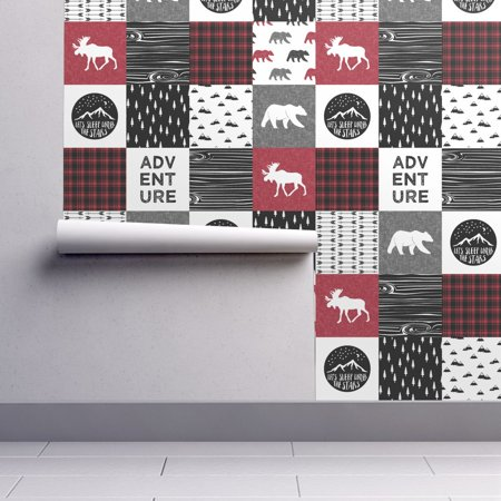 Peel-and-Stick Removable Wallpaper Red Cheater Quilt Baby Boy Lumberjack Camping