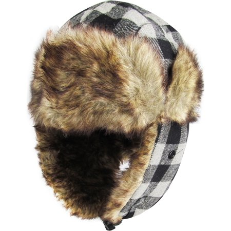 Black Gray Buffalo Plaid Aviator Trapper Hat Winter Ski Cap Faux Fur