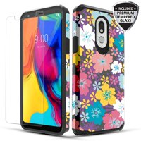 LG Stylo 5 Case, Dual Layer Shockproof Hybrid Case with [Tempered Glass Screen Protector] for LG Stylo 5 - Rainbow Flowers
