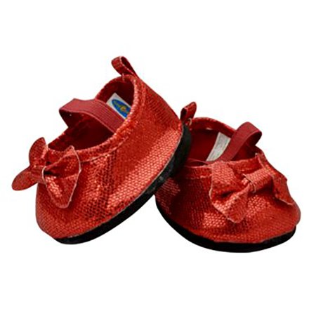 Red Sparkly Dress Shoes For Teddy Bear Clothes Fits 14 inch to 18 inch Build-a-bear and Make Your Own Stuffed Animals