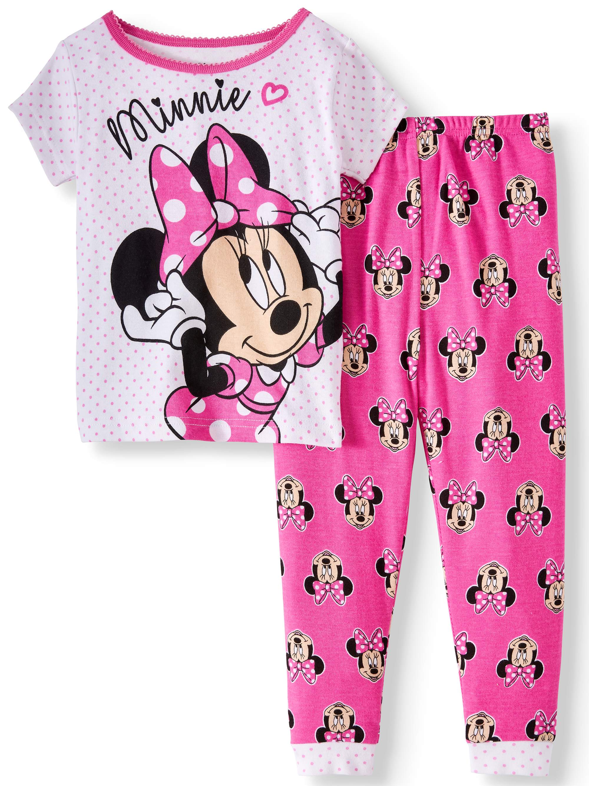 Disney Baby Girls Minnie Mouse Big Face Short Sleeve 2 PC Pajama Set