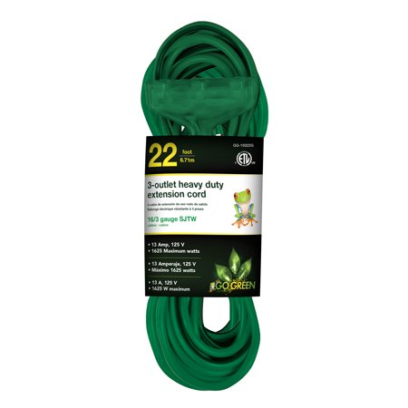 Outlet 22 Overall (GoGreen Power 16/3 22' 3 Outlet Heavy Duty Extension Cord - Green)