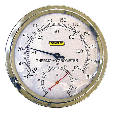 GENERAL A600FC Indoor Analog Hygrometer, 30 to 250 F by General