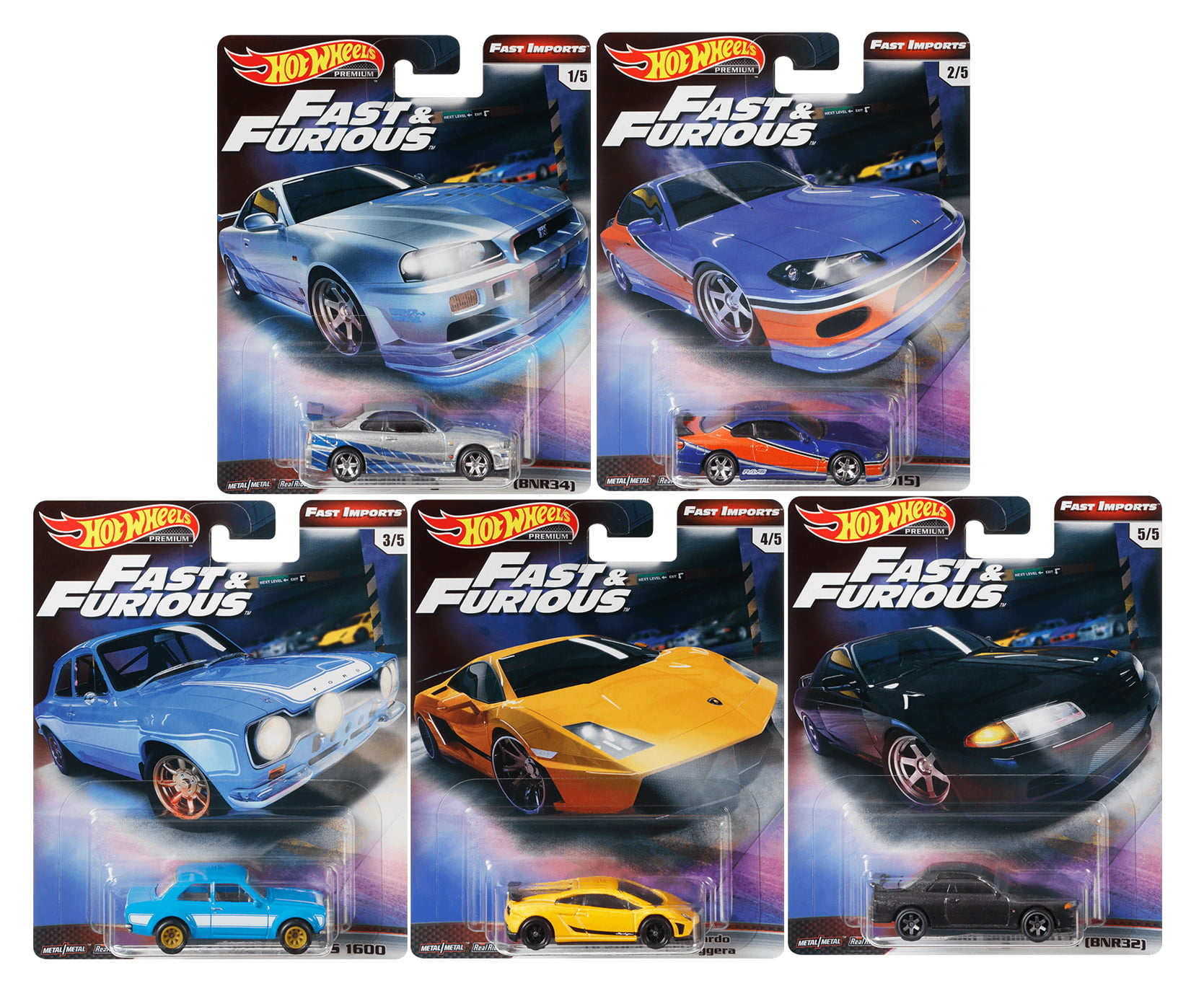 HOT WHEELS 1:64 SCALE FAST /& FURIOUS COMPLETE SET OF 5 DIE-CAST VEHICLES 2020