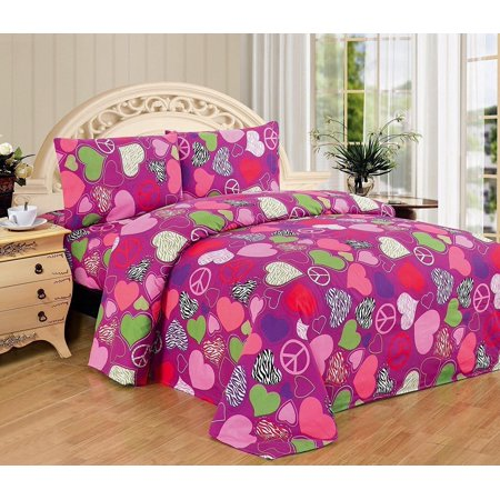 Fancy Linen Pink Purple Zebra Hearts Peace Girls 3 Pc Sheet Set Twin Size New