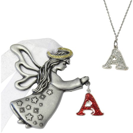 2pc Initial Angel Ornament and Necklace Set, 18 (Set Zircon Necklace)