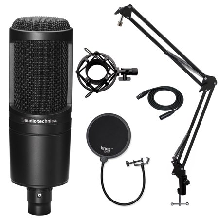 - Audio-Technica AT2020 Microphone with Knox Filter, Boom Arm, Cable & Shock Mount