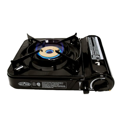 Gas One Gs 3800Df Brass Head Burner With Dual Spiral Flame 11 000 Btu Portable Gas Stove With Heavy Duty Clear Carrying Case  Csa Listed