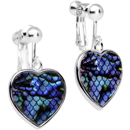 Body Candy Blue Green Mermaid Scale Heart Clip On Earrings Blue Clip Earrings