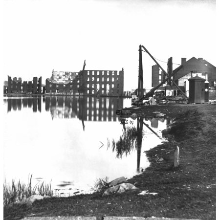 Civil War Richmond 1865 Nruins Along The Banks Of The Canal Basin In Richmond Virginia Following The American Civil War Photograph 1865 Rolled Canvas Art     24 X 36