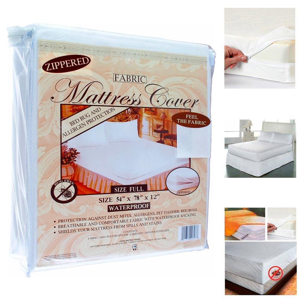 Full Size Fabric Zippered Mattress Cover Waterproof Bed ...