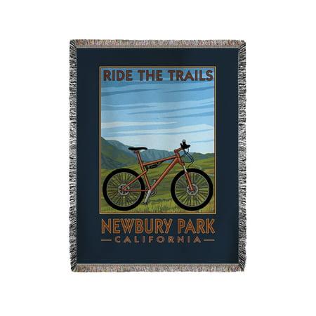 Newbury Park, California - Ride the Trails - Blue Sky - Lantern Press Artwork (60x80 Woven Chenille Yarn - Party City Newbury Park