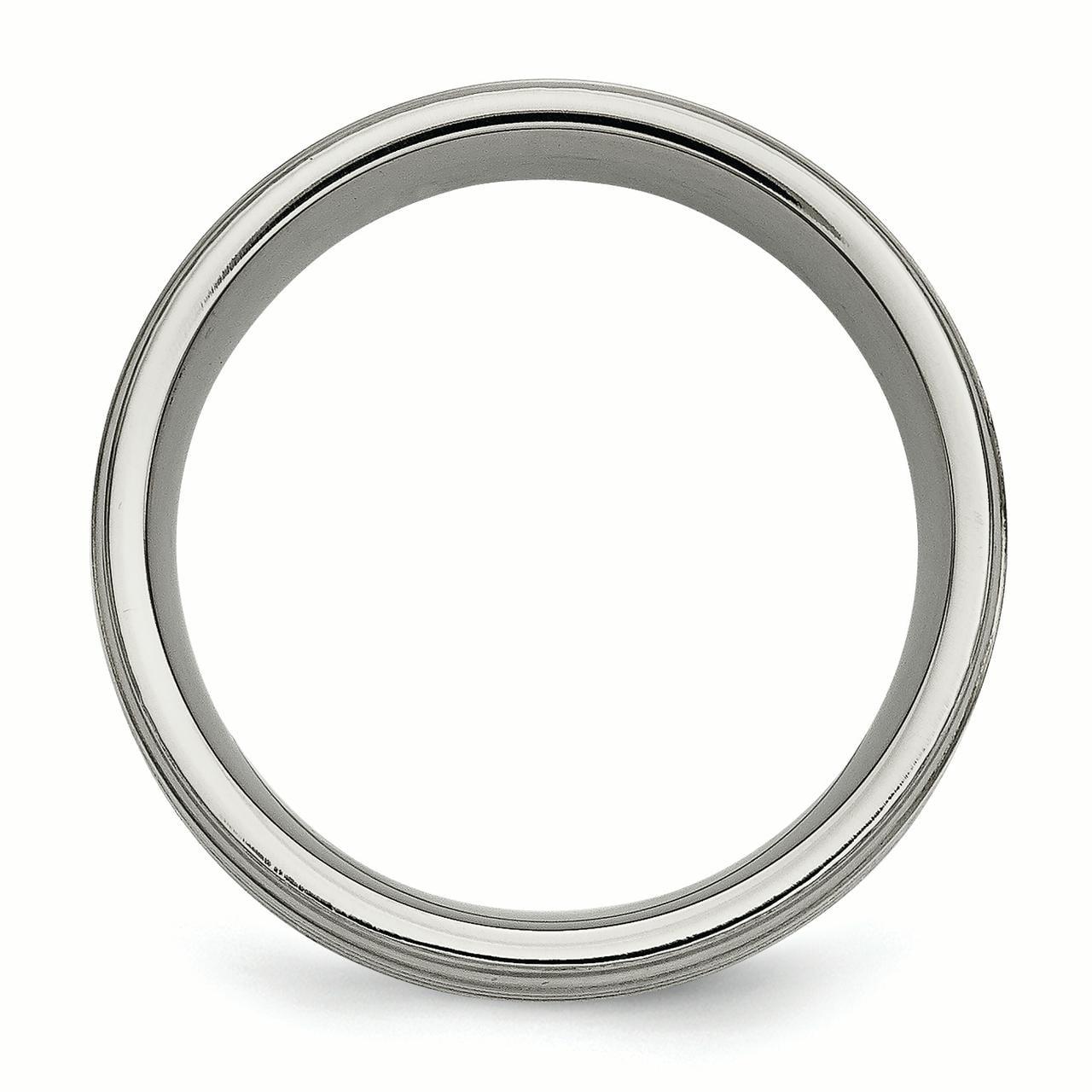Best Birthday Gift Titanium w// Argentium .925 Silver Inlay Ridged Edge 9mm Band