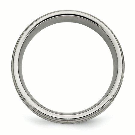 Titanium w/ Argentium .925 Silver Inlay Ridged Edge 9mm Band Size 9.5 - image 3 of 3