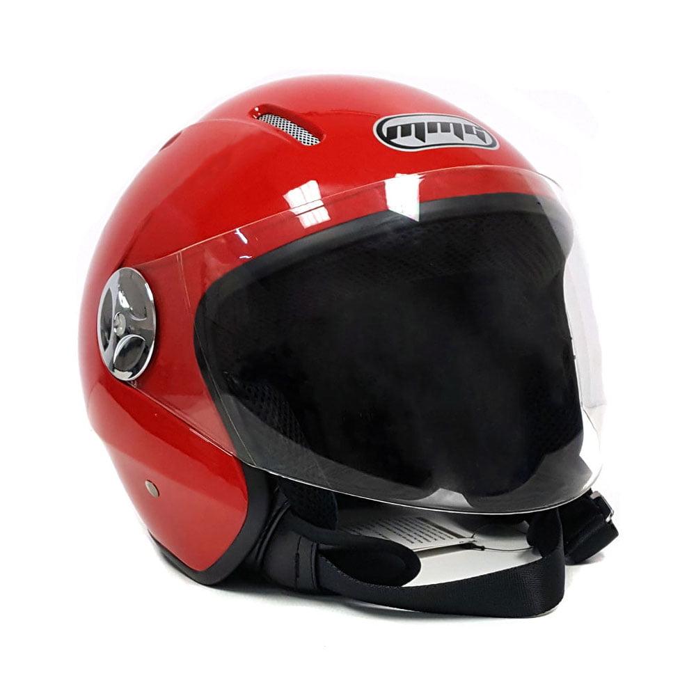 Motorcycle Scooter Open Face Helmet PILOT Flip Up Visor DOT (L, Shiny Red)