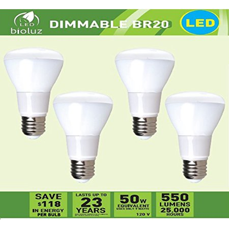 4 Pack Bioluz LED Br20 LED Bulb 7w (50w Equivalent) 2700K Bright Warm White 550 Lumen Smooth Dimmable Lamp - Indoor / Outdoor UL Listed (Pack of 4)