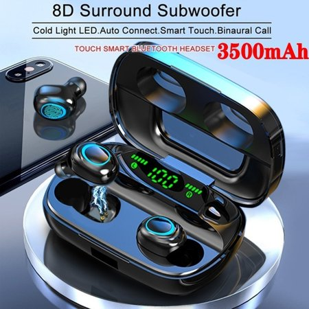 2020 Newest 8D Surround Sound TWS Earphones Wireless Bluetooth 5.0 Stereo Earbuds Sport Waterproof Headphones Virtual Surround Sound Headphones