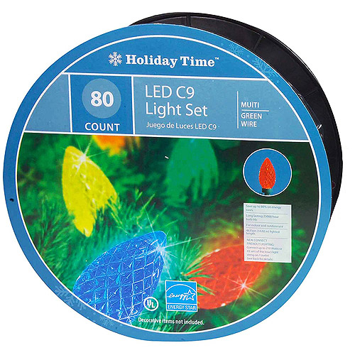 Holiday Time 80-Count LED C9 Christmas Lights, Multi-Color