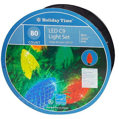 Holiday Time 80 Count Led C9 Christmas Lights Multi Color