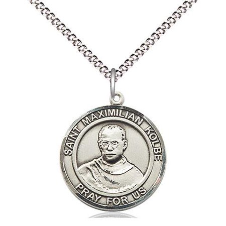 - St. Maximilian Kolbe Patron Saint Medal in Sterling Silver with 18