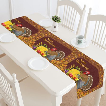 MYPOP Happy Thanksgiving Day Table Runner Home Decor 16x72 Inch,Thanksgiving Turkey Pumpkin Fruit Table Cloth Runner for Wedding Party Banquet Decoration ()