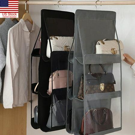6 Pocket Foldable Hanging Bag 3 Layers Folding Shelf Bag Purse Handbag Organizer Door Sundry Pocket Hanger Storage Closet Hanger (Purse Storage Organizer)