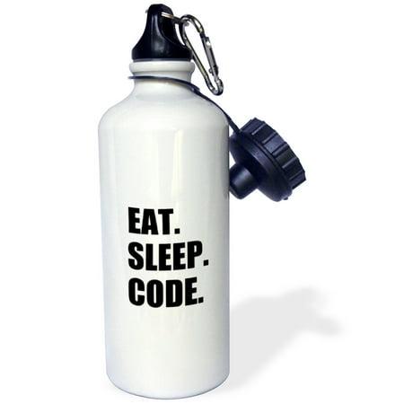 3dRose Eat Sleep Code - computer coder. Programmer. love to program. Coding, Sports Water Bottle, 21oz