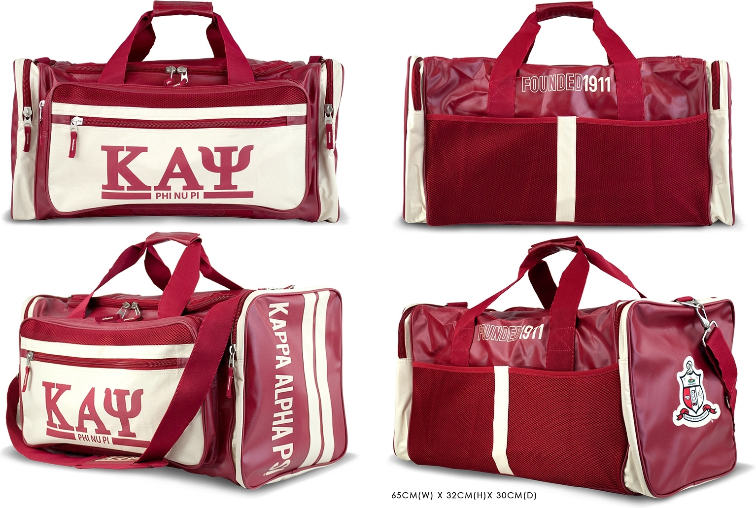 "Kappa Alpha Psi Divine 9 S2 PU Leather Duffle Bag [Crimson Red 25.6""W x 12.6""H x 11.8""D] by"