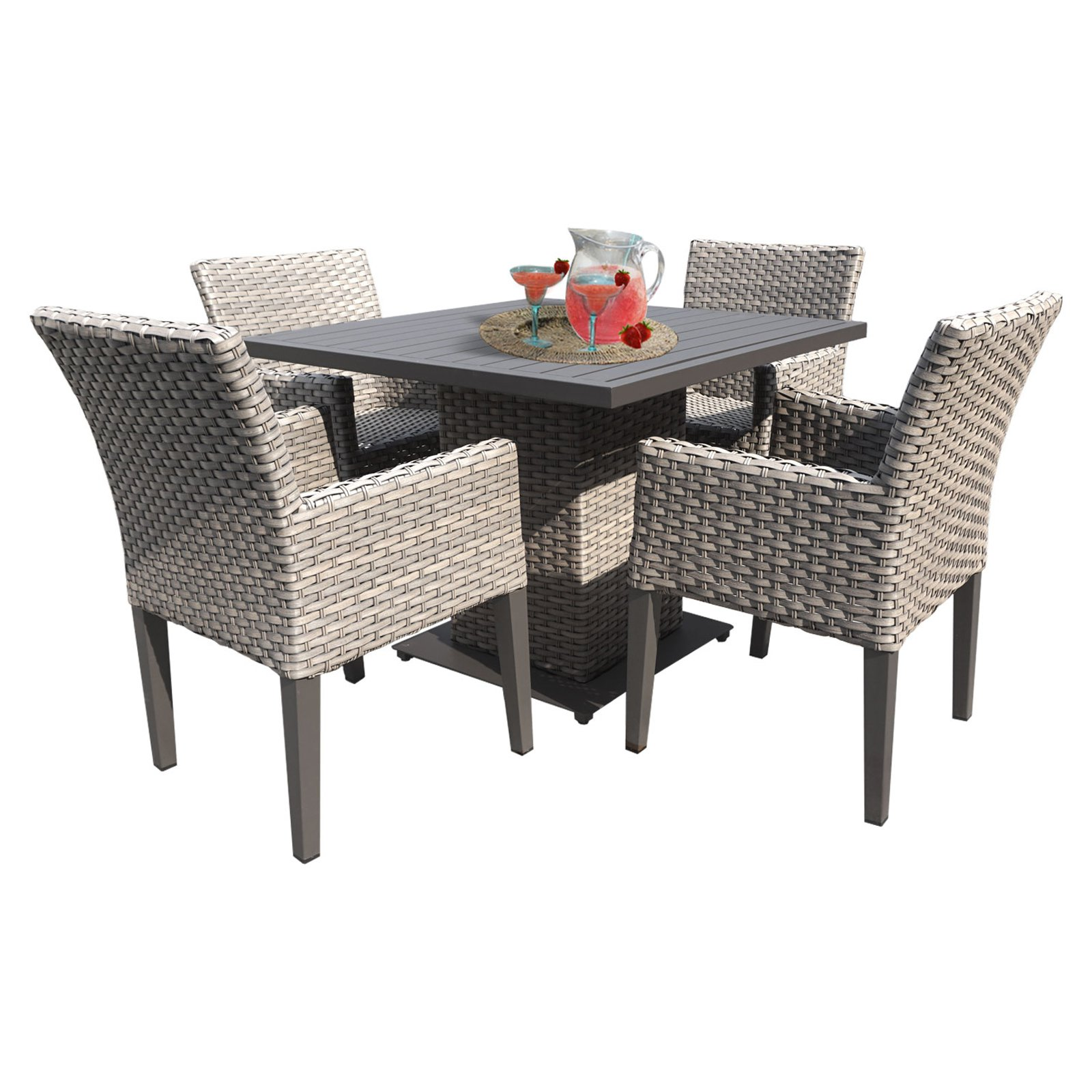 TK Classics Florence All Weather Wicker 5 Piece Patio Dining Table Set with Arm Chairs