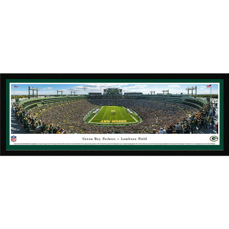 Framed Lambeau Field Green - Green Bay Packers - End Zone at Lambeau Field - Blakeway Panoramas NFL Print with Select Frame and Single Mat