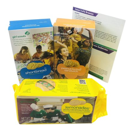 Girl Scout Cookies - Peanut Butter Sandwich (Do-si-dos) Shortbread and Lemonades Variety Pack of 3 - Includes 4 Fun, Unique Recipes for Thin Mints, Samoas, Tagalongs and Do-si-dos on a 5x8 Glossy Card (Fun Halloween Games For Girl Scouts)