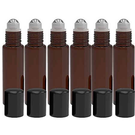 6 Pack - Empty Roll on Glass Bottles [STAINLESS STEEL ROLLER] 10ml Refillable Color Roll On for Fragrance Essential Oil - Metal Chrome Roller Ball - 10 ml 1/3 oz - Amber Color