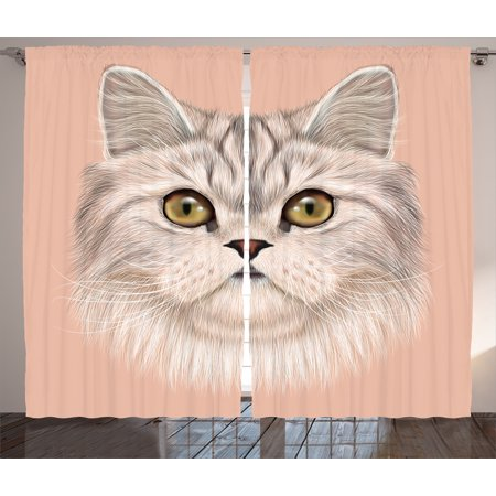 Cat Curtains 2 Panels Set, Cute Kitty Portrait Whiskers Best Pet Animal I Love My Feline Themed Artwork, Window Drapes for Living Room Bedroom, 108W X 84L Inches, Beige Cream Peach, by