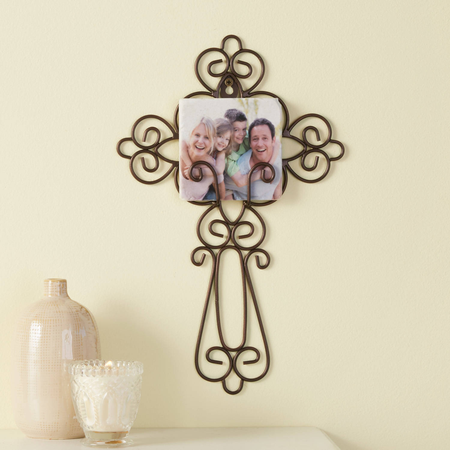Personalized Family Photo Cross, Wrought Iron
