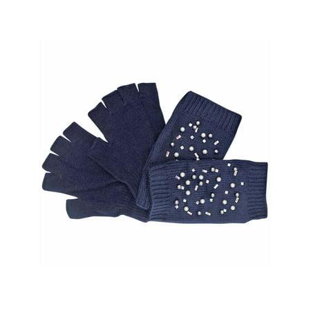 Navy Blue Rhinestones & Pearl Knit Fingerless Arm Warmers & Gloves