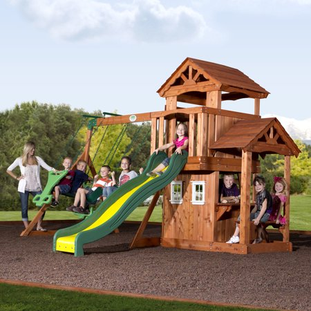 Backyard Discovery Tanglewood Cedar Wooden Swing Set - Backyard Discovery Tanglewood Cedar Wooden Swing Set - Walmart.com