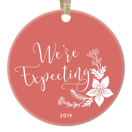 Pregnancy Announcement Christmas Ornament 2019 Dated Holiday Keepsake Gifts We're Expecting Reveal Baby Due 2020 Surprise Grandparents Pretty Shabby Chic Floral 3