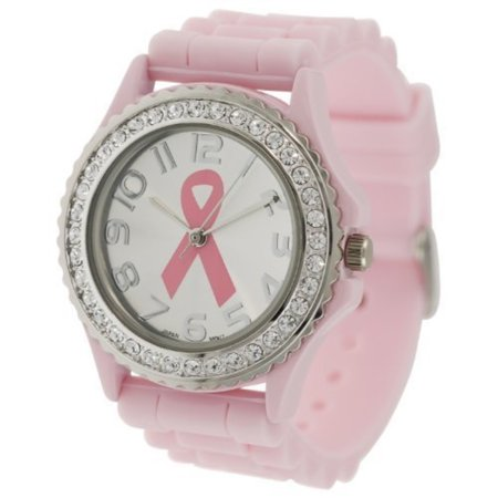 Pink Ribbon Crystal Rhinestone Breast Cancer Awareness Silicone Rubber Jelly Watch