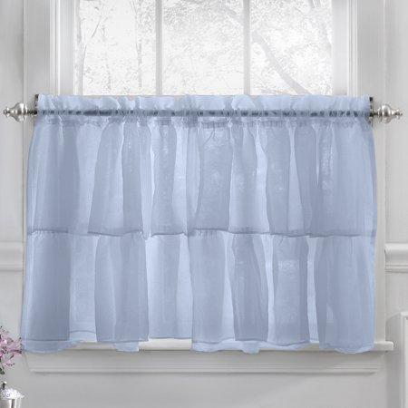 Gypsy Crushed Voile Ruffle Kitchen Window Curtain 24   Tier Pair