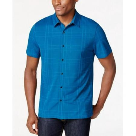 Alfani New Blue Mens Size Small S Short Sleeve Knit Button