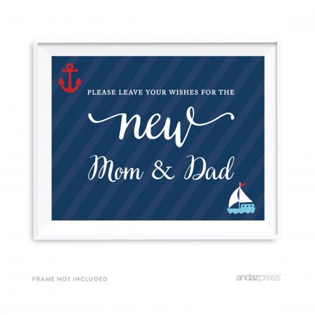 Leave Your Wishes For Mom & Dad Nautical Baby Shower Table Party Signs