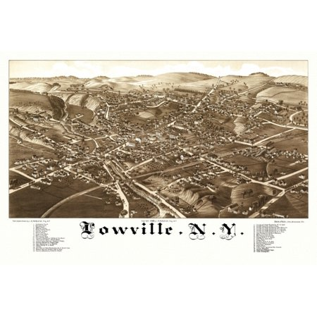 Historic Map of Lowville New York 1885 Herkimer County Canvas Art -  (18 x 24)