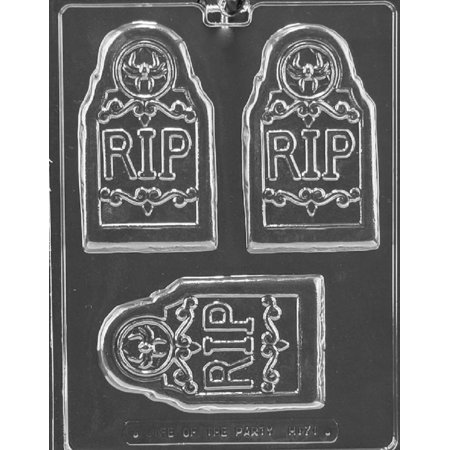 Grandmama's Goodies H171 R.I.P. Tombstone Bar Halloween Chocolate Candy Soap Mold with Exclusive Molding Instructions - Homemade Candy Bar Halloween Costumes