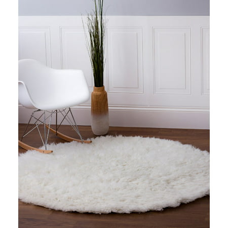 Super Area Rugs Wool Flokati Solid White Shag Rug