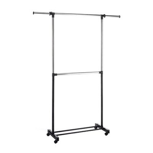 , Adjustable 2-Rod Garment Rack, Chrome, 2Rod Tier Rod Rolling Metal Black Garment Adjustable Two Double Rack Silver 2... by